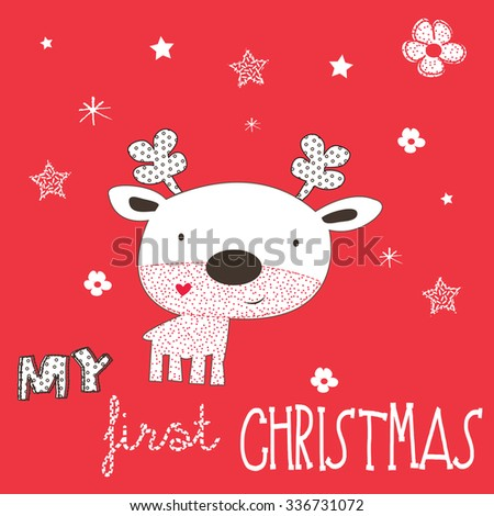 cute reindeer cartoon on red background, Merry Christmas card vector illustration