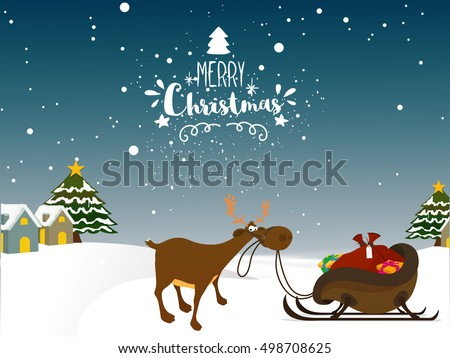 Cute Reindeer With Sleigh Full Of Gifts On Snowy Winter Background For Merry Christmas Celebration