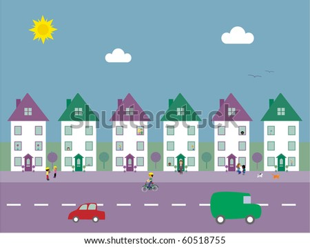 Cute residential street with people, animals and cars vector illustration - stock vector