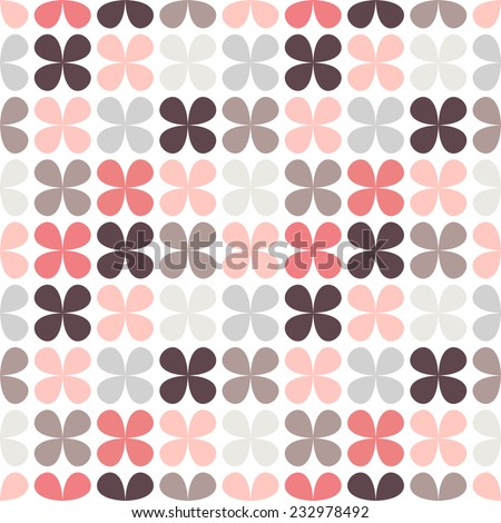 Cute retro abstract floral seamless pattern. Vector illustration for flower design. Can be used for wallpaper, cover fills, web page background, surface textures. Pink, black and white colors. - stock vector