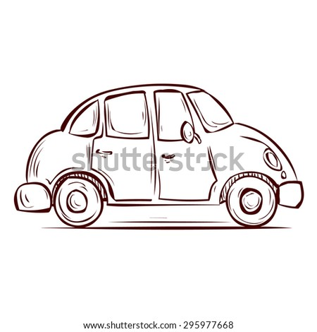 Cute Retro Car. Hand Drawn Cartoon Vector Illustration.
