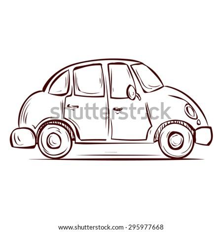 Cute Retro Car. Hand Drawn Cartoon Vector Illustration.