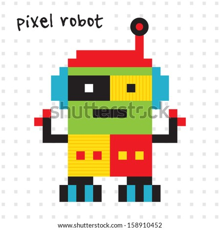 Cute Robot Designs Cute Retro Pixel Robot in