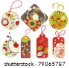 Cute retro price tags, flowers and hearts ornaments - stock vector