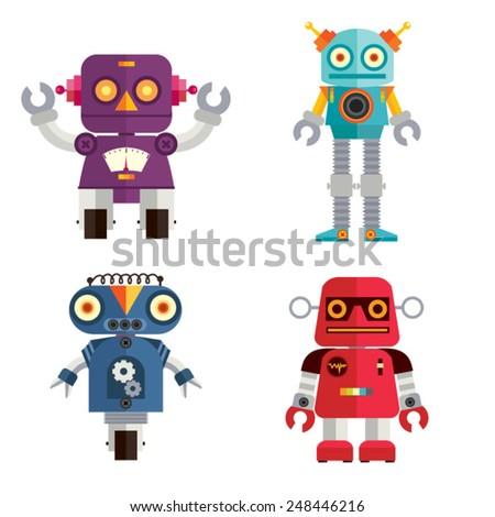 Cute Retro Robot set 2 - stock vector