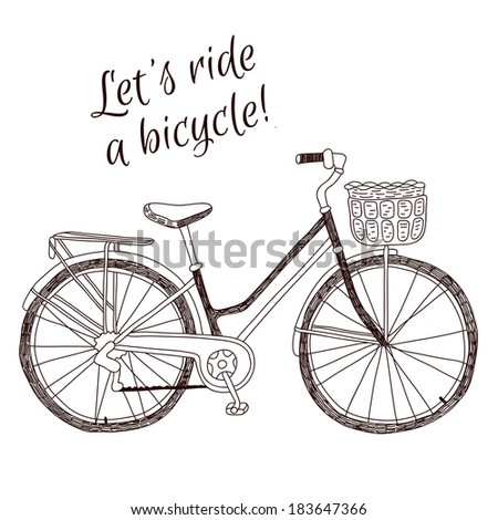 Cute retro style vintage vector hand drawn bicycle on white background - stock vector
