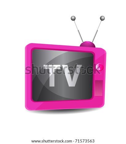 Cute retro tv vector - stock vector