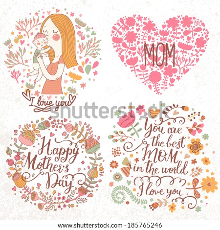 Cute retro vector cards with mother and child, flower wreath, hearts. Happy mothers day. Vintage floral backgrounds with woman and baby. I love you postcard. Set of four designs. - stock vector