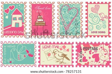 Cute retro wedding stamps - stock vector