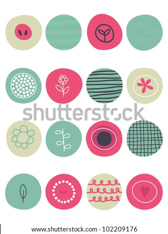Cute retro whimsical background, vector - stock vector