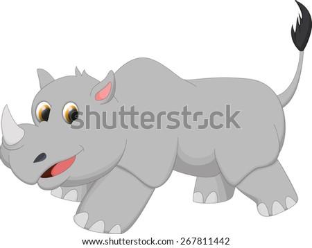 cute rhino cartoon - stock vector
