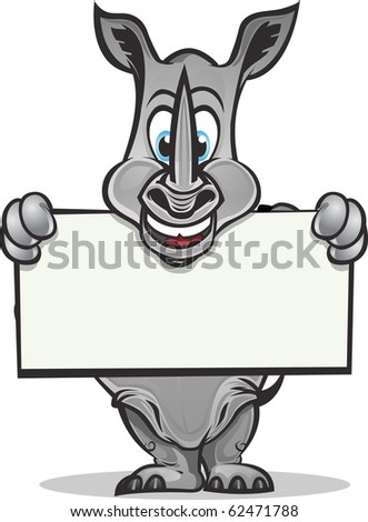Cute Rhino holding up sign.Separated into layers for easy editing./Cute Rhino holding sign - stock vector
