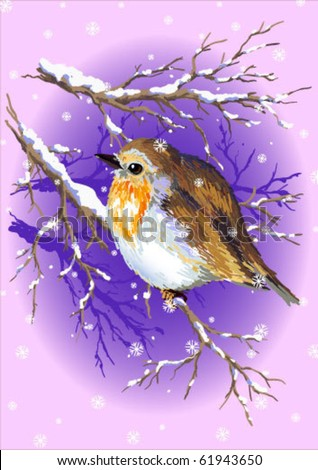 Cute Robin sitting on a branch of a tree during the cold winter.Vector illustration.