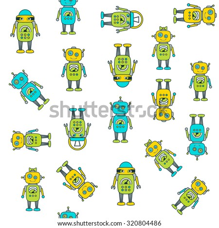 Cute Robot Cartoon Character seamless vector pattern. Flat icon template set. School, after-school kids' activities, technology education concept. Use for youth targeted product decoration. Editable - stock vector