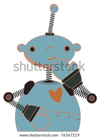 Cute robot cartoon illustration standing shyly
