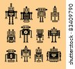 cute robot collection - stock vector