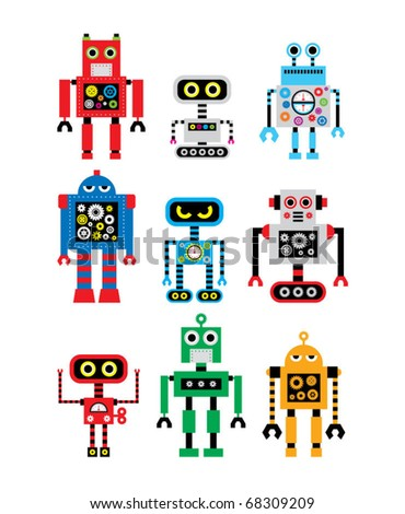 cute robot doodle collection - stock vector
