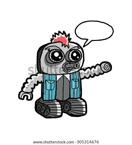 cute robot doodle with speech bubble - stock vector