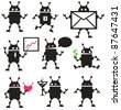 Cute robot icons black and white. Vector set. - stock photo