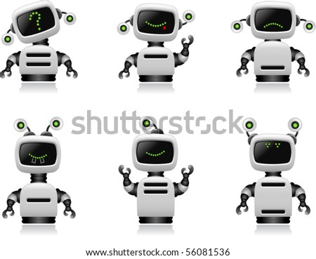 Cute Robot Set - Vector - stock vector
