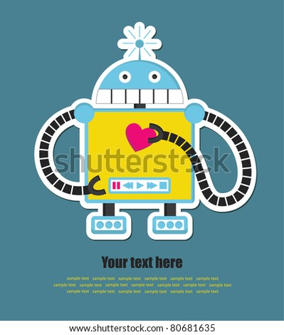 cute robot with heart. vector illustration - stock vector
