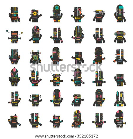 Cute robots. Big set of different colorful robots isolated on white. Cartoon illustration. vector set - stock vector