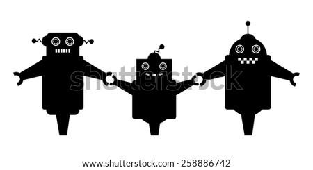 cute robots family - stock vector