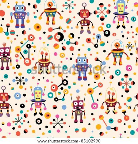 cute robots pattern - stock vector