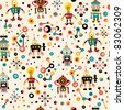 cute robots seamless pattern - stock vector