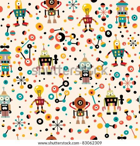 cute robots seamless pattern - stock vector