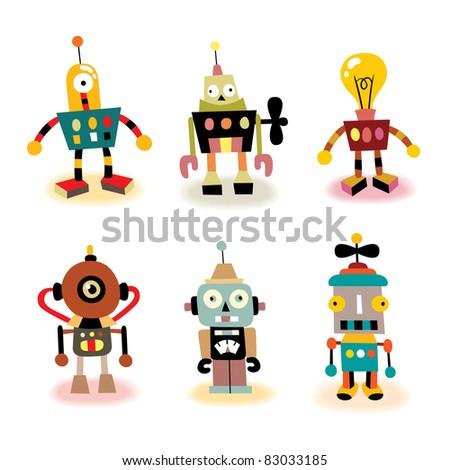 cute robots set - stock vector