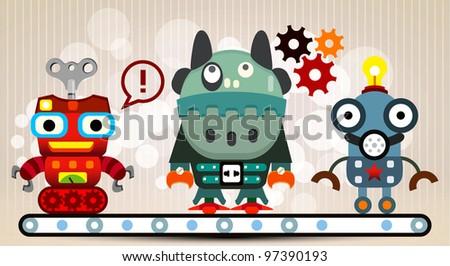 Cute robots team - stock vector