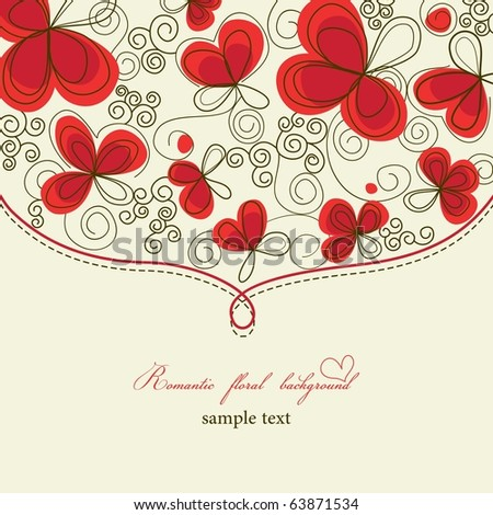 Cute romantic floral background - stock vector