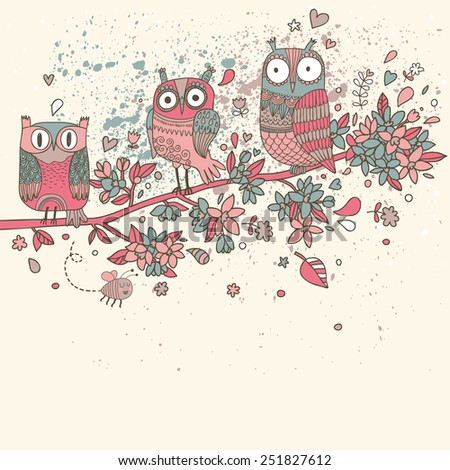 Cute romantic owls on branch in flowers. Spring concept background. Stylish illustration, can be used as invitation card. Vector summer wallpaper - stock vector