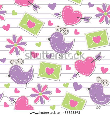 cute romantic seamless pattern with birds, flowers, hearts and envelopes - stock vector