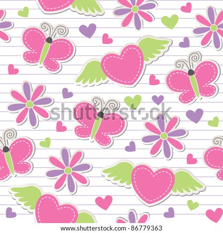 cute romantic seamless pattern with butterflies, hearts and flowers - stock vector