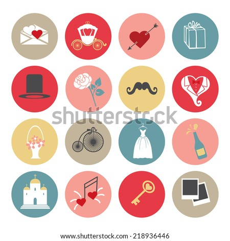 Cute romantic set of icons for Valentines day, wedding, love and romantic events and romantic events .or web and mobile , wedding infographic. Vector - stock vector