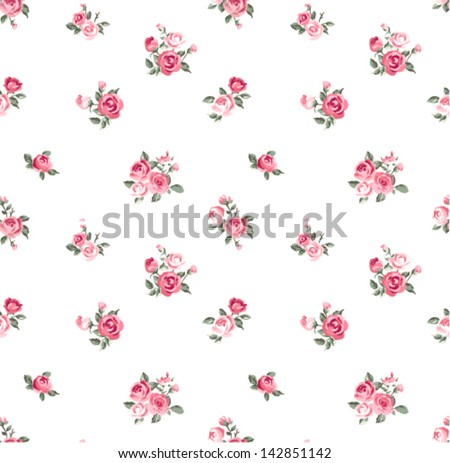 cute rose seamless vector pattern background - stock vector