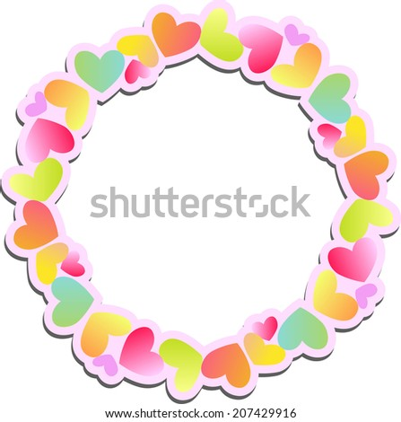 Cute round paper frame of colored hearts with shadow