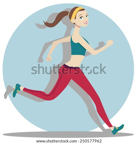 Cute running girl in cartoon style - stock vector