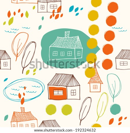 Cute rural landscape with houses and trees. Doodle drawn background. Seamless decorative pattern - stock vector