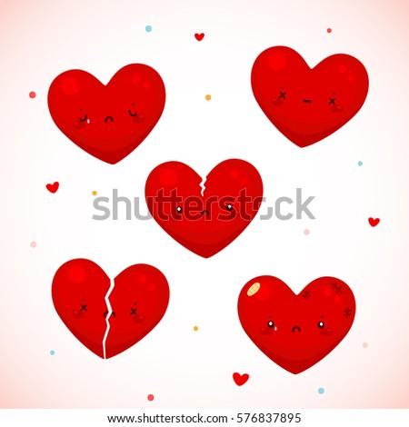 Cute Sad Hearts Symbol Love Cartoon Stock Vector 576837895