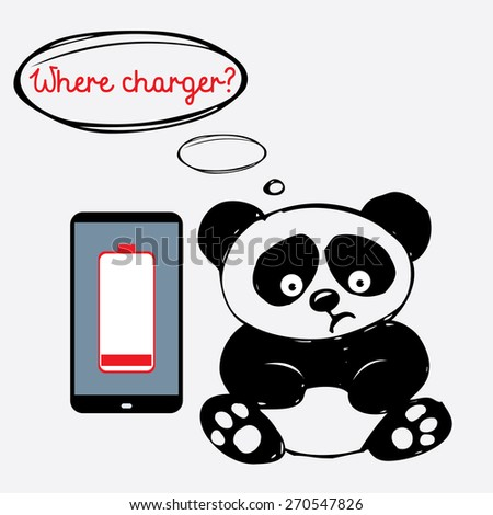 Cute sad panda with a smartphone that is discharged, vector - stock vector