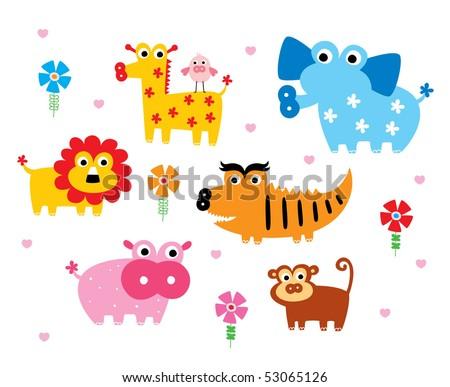 cute safari animal doodle - stock vector