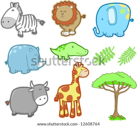 Cute Safari Animal Set Vector Illustration - stock vector