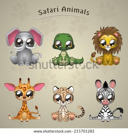 Cute Safari Animals collection vector illustration art  - stock vector
