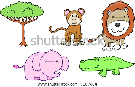 Cute Safari Set Vector Illustration - stock vector