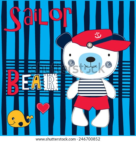 cute sailor bear with whale striped background vector illustration