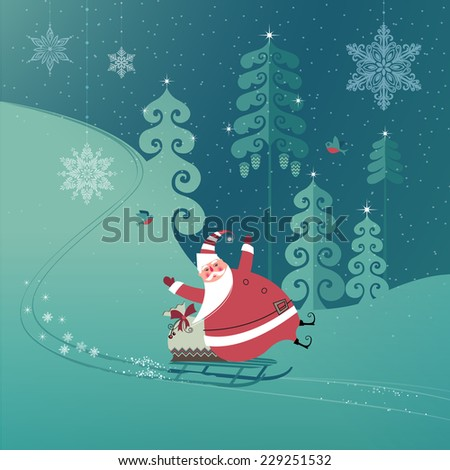 Cute Santa Claus on a sled with Christmas gifts slides down a hill. Seasons Greetings concept. Vector EPS 10 illustration. - stock vector