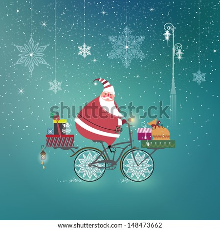 Cute Santa Claus on bicycle delivering Christmas gifts. Season�s Greetings. Vector EPS 10 illustration.   - stock vector